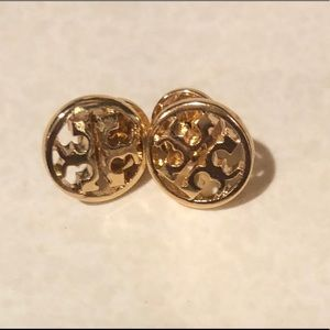 TORY BURCH GOLD LOGO DESIGNER ROUND STUD EARRINGS